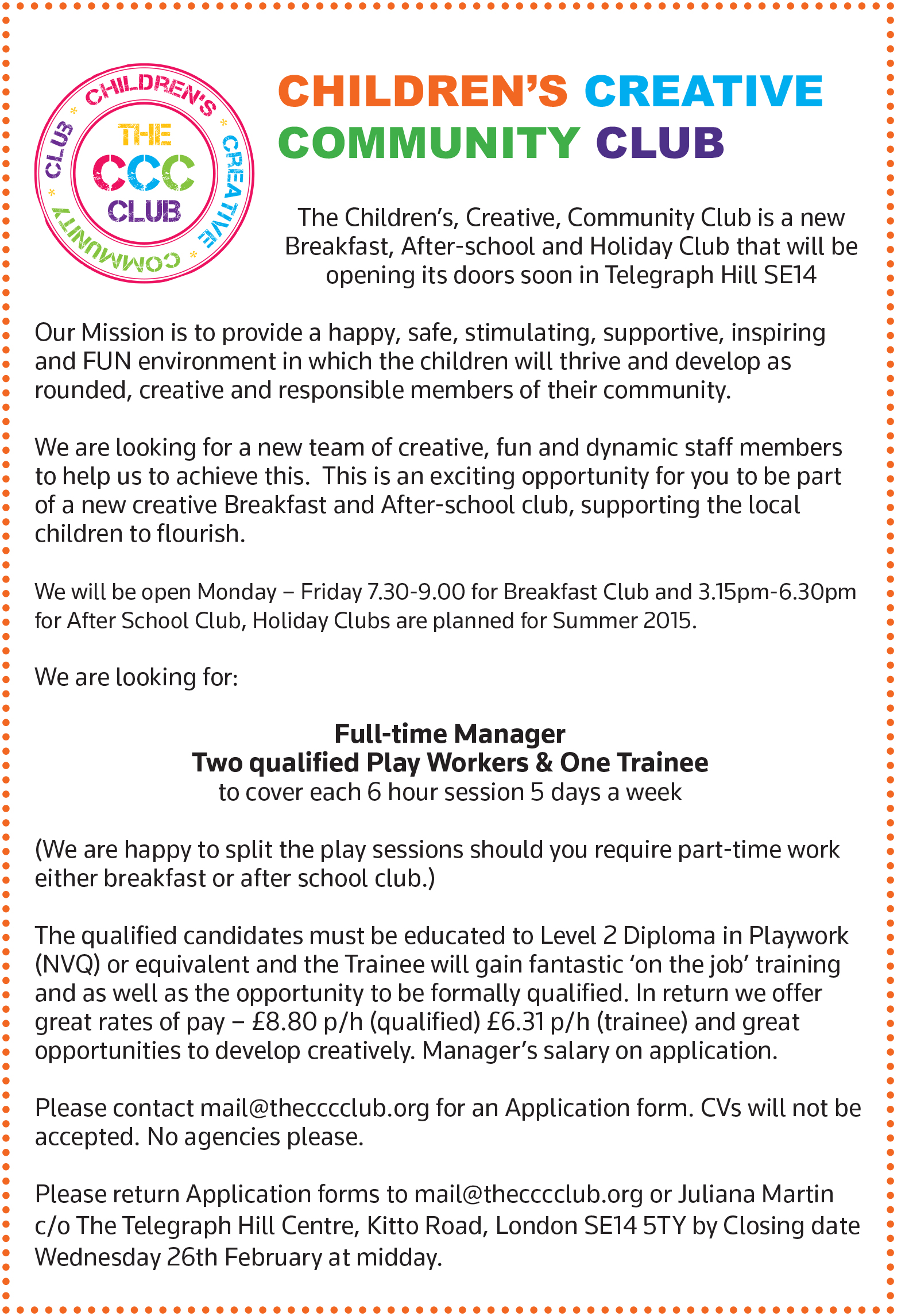 February 2014 childrens creative community club job ad2 falaconquin